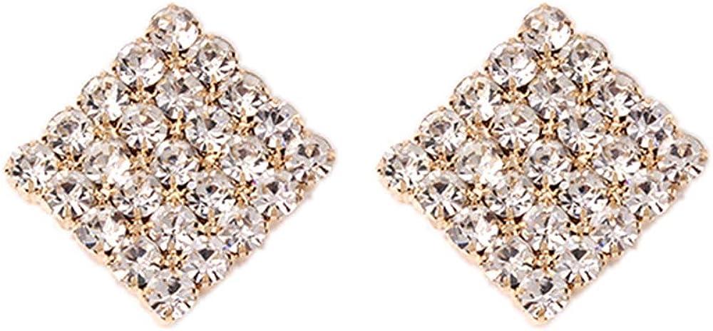 YAZILIND Strass Alliage Stud Boucles Doreilles Carr/é Forme Partie Bijoux Simple pour Les Femmes De No/ël Danniversaire De Mariage cadeau