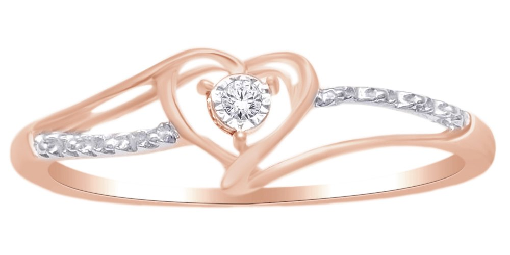 Round Shape White Natural Diamond Heart Ring In 14k Rose Gold Over Sterling Silver (0.05 cttw) Ring Size-4