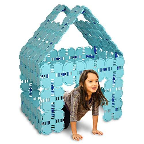Fort Boards - Fort Building Kit | Jumbo Blocks Kids Toy | 90 Piece Set: Light Blue