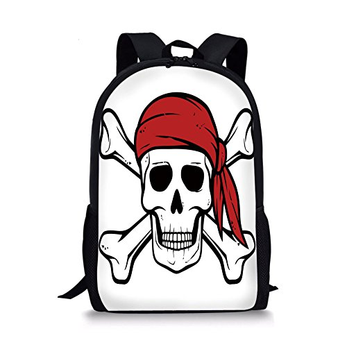"Pirate 12"" Baby Toddler Kids 3D Print Canvas Backpack,Dead Pirate Skull and Crossbones Red Bandana Scary Bandit Warning Icon Piracy Schoolbag Shoulder Bag for Kindergarten Black White Ruby"