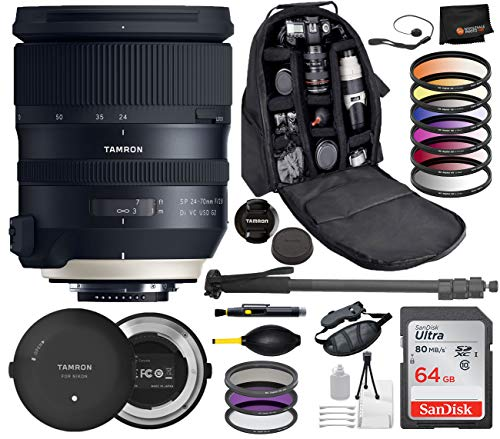Tamron SP 24-70mm f/2.8 Di VC USD G2 Lens for Nikon F Digital Cameras with Tamron Tap-in Console Bundle Package Deal Includes: SanDisk Ultra 64GB SD Card –Pro Series Monopod + Backpack + More