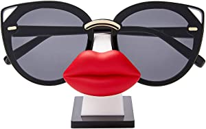 i-Win Eyeglass Holder Stand Sunglasses Holder Nose Shape Glasses Display Stand Funny Table Décor (Hot Lips)