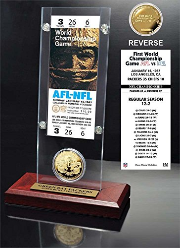 NFL Green Bay Packers Super Bowl 1 Ticket & Game Coin Collection, 12'' x 2'' x 5'', Black by The Highland Mint