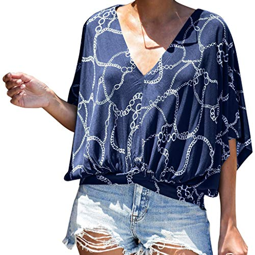 TANLANG☀Women Blouse Printed Pleated Shirt Top Short Sleeve Casual Loose Fit Flare Swing Tunic Tops Basic T-Shirt Plus Size Navy