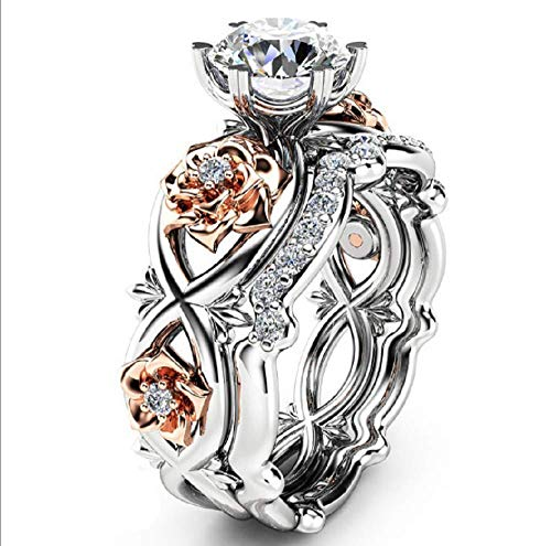 Weishu New Women's Diamond Silver and Rose Gold Filled Silver Wedding Engagement Wreath Set (US Code - Wreath Eternity