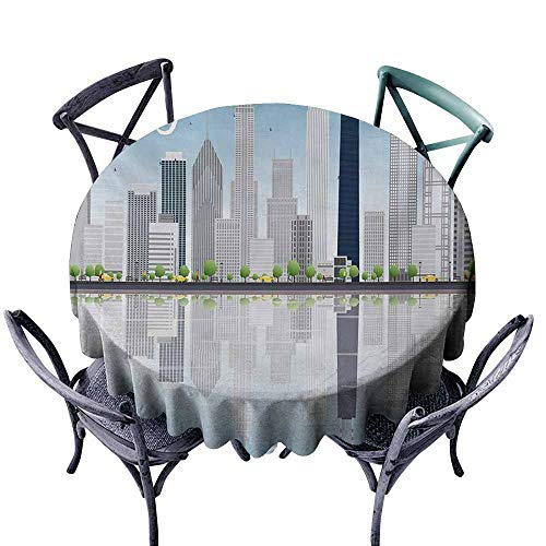 Snadkil Round Tablecloth Chicago Skyline Skyscrapers Lake Michigan Illinois Classic American Scenery Street Baby Blue Pale Grey Great for Buffet Table D43 Chicago Bears Pub Table