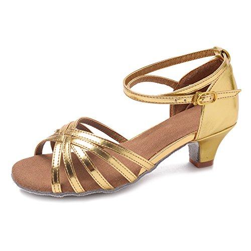HIPPOSEUS Damen & Mädchen Sandalen Ausgestelltes Tanzschuhe/Ballsaal Standard Latein Dance Schuhe,DEXGG201 Gold
