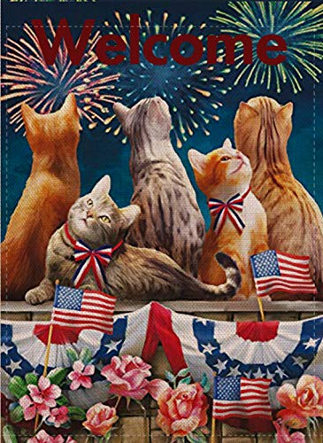 Selmad Welcome July 4th Patriotic Cat Garden Flag Double Sided, Firework Flower Quote Burlap Decorative House Yard Decoration, Holiday Red White Blue Seasonal Home Outdoor Vintage Décor 12 x 18 Summer