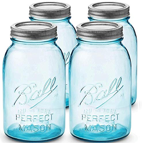 (Blue Mason Jars 32 oz Regular Mouth - Set of 4 Aqua Ball Canning Jars with Airtight lids and Bands - For Canning, Fermenting, Pickling, Storage - DIY crafts & Decor - Toxin Free.+ SEWANTA Jar Opener)