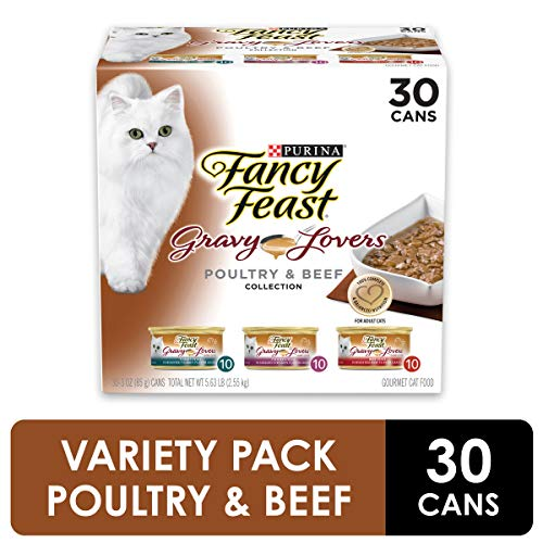 Purina Fancy Feast Gravy Wet Cat Food  Variety Pack, Gravy Lovers Poultry & Beef Feast Collection - (30) 3 oz. Cans (Shop Lovers Pet)