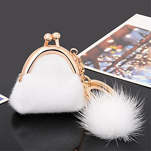 Colourful Kawaii Cute Mink Hair Mini Purse Shape As Charms Car Key Chains Key Ring Tassels keyring keychains linnor Women Bag Charms DIY (White)
