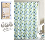 14PIECE Geometric Green Blue Designer Fabric Shower Curtain Set with Clear Liner Magnet and 12 Roller Rings Hooks