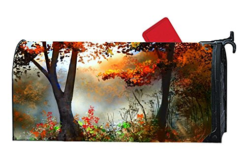 Creative Morning Four Seasons Fall Magnetic Mailbox Cover, Decorative Garden Outdoor Vinyl Customized Mailbox Wrap Standard by CoolMailboxicoveriw
