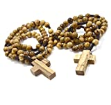 Most Original Gifts TWO (2) AUTHENTIC Olive Wood Catholic Rosary Beads Necklaces from Bethlehem in Natural Cotton Pouch by BeBlessed