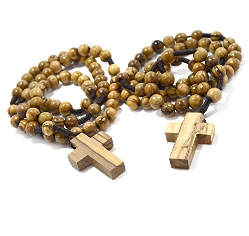 Two (2) Authentic Wooden Catholic Rosaries, Rosary Beads (Rosarios Catolicos) Necklace from Bethlehem Olive Wood Christian Prayer Beads - in Natural Cotton Rosary Pouch