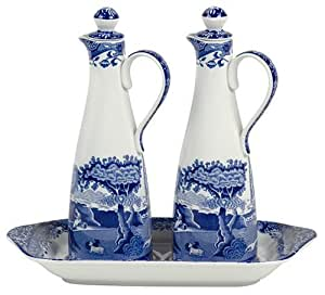 Spode Blue Italian Gourmet Oil and Vinegar Set with Tray