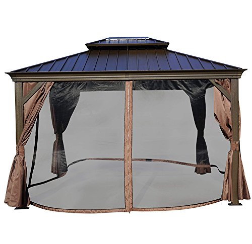 Kozyard Alexander 10'x12' Hardtop Aluminum Permanent Gazebo with 2 Layers Sidewalls(Alexander (Colored Canopy)