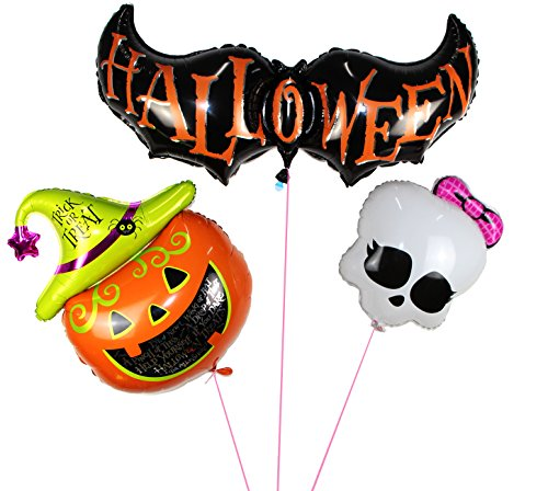 [Langxun Halloween Pumpkin & Bat & Skull Air-filled /Hydrogen / Helium Balloons for Party Decoration / Birthday / Theme Party / Kids] (Makeup For A Bat Costume)