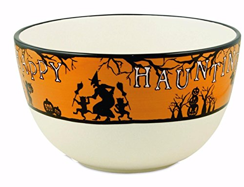 Bethany Lowe Halloween Party Ceramic Serving Bowl, Witch, Ghouls and Boo