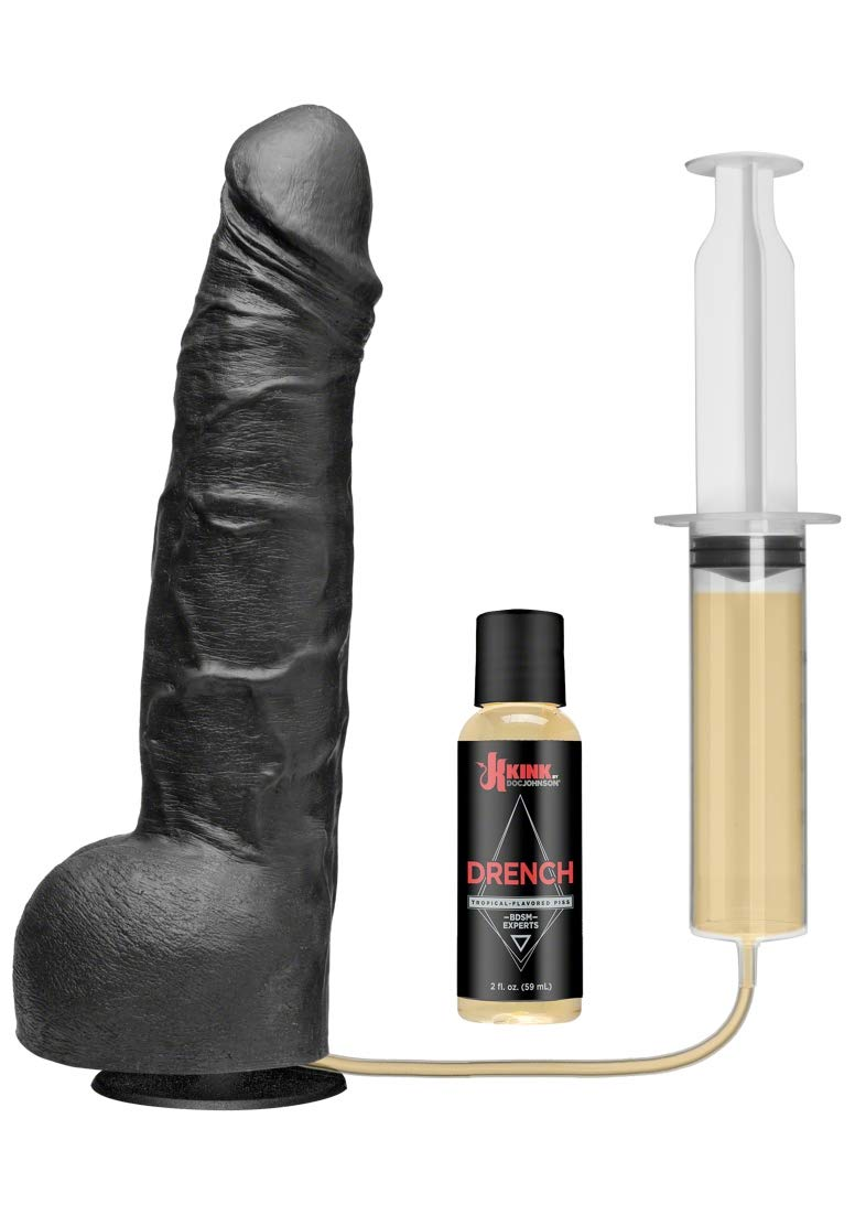 KINK By Doc Johnson Wet Works Drencher - Silicone Squirting Cock - With Removable Vac-U-Lock Suction Cup Base - Harness and F-Machine Compatible - Black