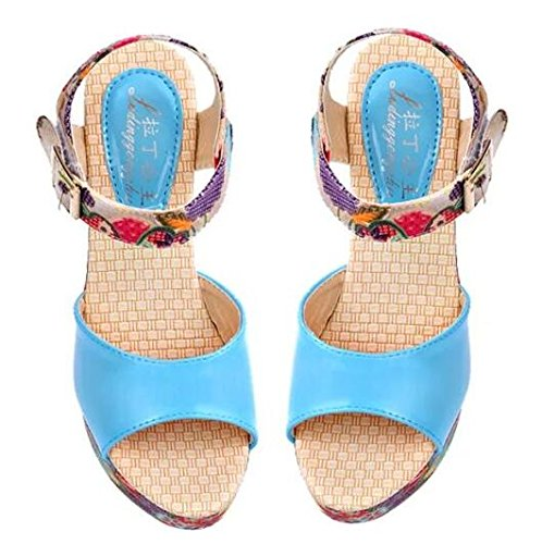 heeled Summer slope shoes muffin thick with fish shoes crust in high sandals head Blue new waterproof Rome 7AAqnpxF