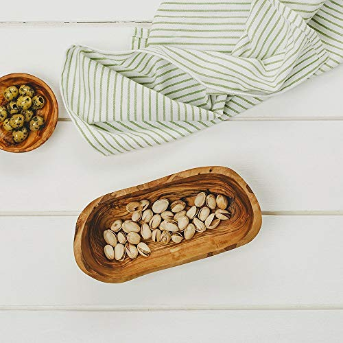 - Naturally Med - Olive Wood Rustic Fruit Bowl (Boat-Shaped) 8.5 inch