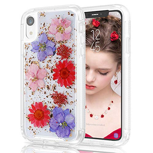 (Real Flower Case for iPhone XR 6.1 Women, Clear Floral Pattern Design 2 Pieces Slim Shockproof Soft TPU Hard Back Protective Armor Defender Phone Cover Compatible Apple iPhone XR (Red)
