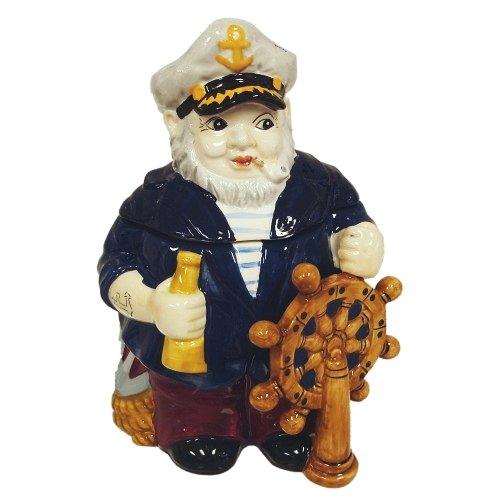 Hand Painted Ceramic Nautical Sea Captain Cookie Jar Hat Cookie Jar