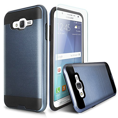 Galaxy On5 Case With TJS® Tempered Glass Screen Protector Included, Dual Layer Shockproof Hybrid Armor Drop Protection Metallic Brushed Finish Case Cover For Samsung Galaxy On5/G550 (Dark Blue)