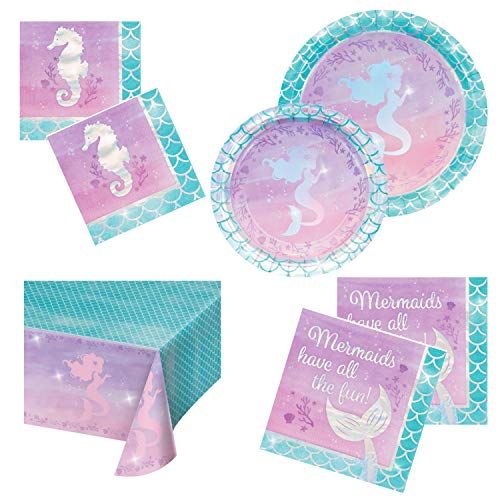 Mermaid Party Supplies | Baby Shower Decorations | Serves 16 | Disposable Paper Plates Napkins Tablecloth | Perfect Mermaid Birthday Party Favor Pack for Girls | Glittery Sparkle Foil Stamped Party Kit ()