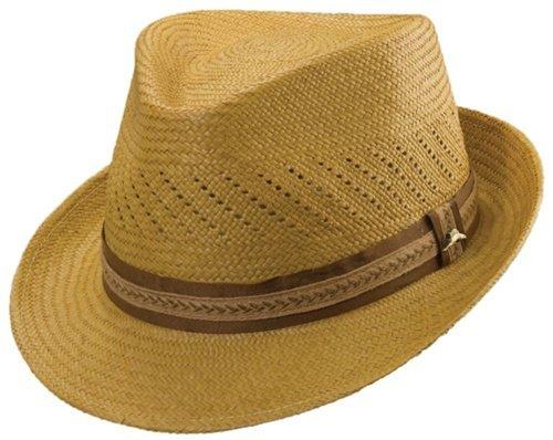 Tommy Bahama Men's Grade 3 Panama Fedora Vent Hat,Yellow,S/M