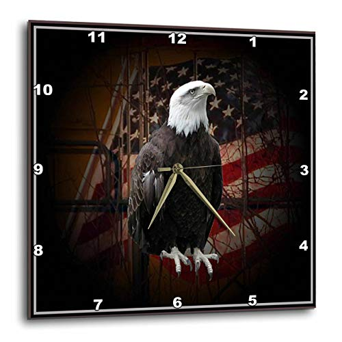 3dRose DPP_11602_3 Bald Eagle with American Flag Wall Clock, 15 by 15-Inch