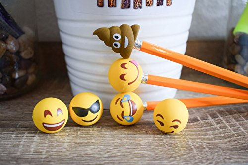 Pencil Top Erasers - Emoji Erasers for Kids - Fun Pencil Top Eraser - Everything Emoji Cute Pencil Eraser Tops (Set 4 (18 pack)) by I EM JI (Image #7)
