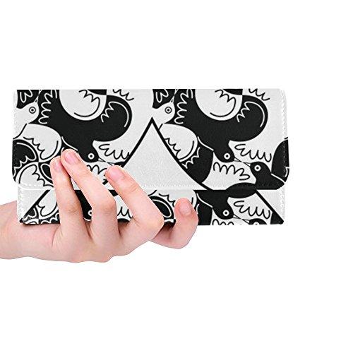 Sox Black Tri Fold Wallet - Unique Custom Heart Doves Pigeons Black White Love Women Trifold Wallet Long Purse Credit Card Holder Case Handbag