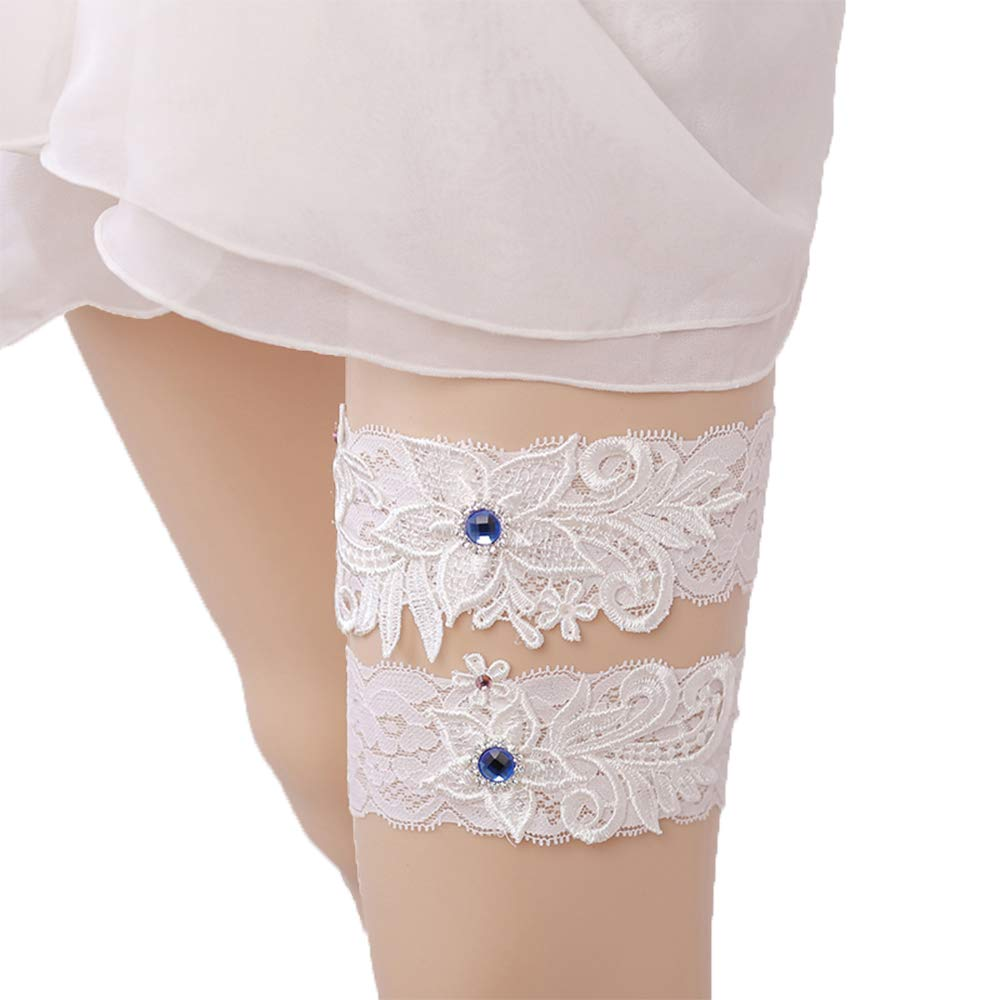 Advoult Wedding Garter Rhinestone Garter Belt 2 Pieces Lace Garters for Bride Bridemaid Keepsake