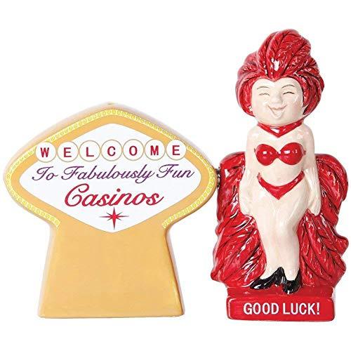 ShopForAllYou Figurines and Statues Good Luck Casino Waitress Fun Ceramic Salt & Pepper Shakers Set -