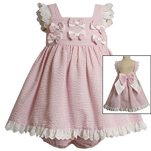 ls 3M-24M Seersucker Dress With Eyelet Flutter Sleeve And Hemline, Pink, 12 Months (3-6 Months, Pink) ()