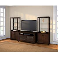 Buena Vista TV Stand with Set of 2 Tall Library Storage Cabinets