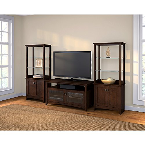 Bush Furniture Buena Vista TV Stand with Set of 2 Tall Library Storage Cabinets Bush Furniture Tv Stand