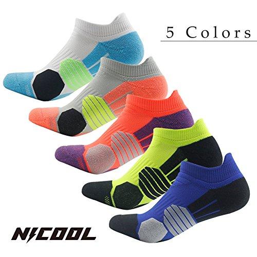 Socks Pack Running NIcool Men's Dri Fit Quick Wicking Socks for Sports and Casual,Redish Orange,1 Pair (Tennis Sport Dri Short Fit)