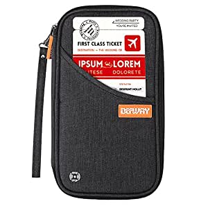 DEFWAY Famliy Passport Holder Waterproof RFID Blocking Cellphone Credit Card Pouch Travel Document Wallet with Wristlet for Men Women(Black)