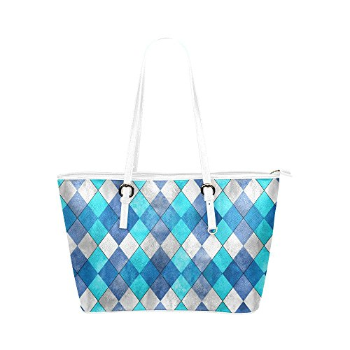 InterestPrint Modern Argyle Plaid Teal Turquoise Classic Leather Casual Tote Handbag Daily Bag for (Argyle Bag)