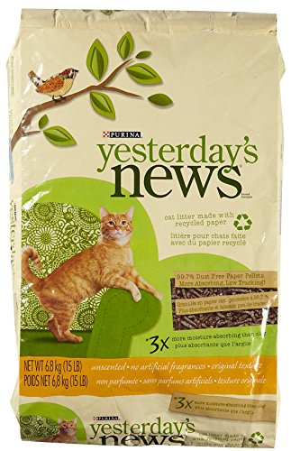 YESTERDAY'S NEWS PRODUCTS 702303 Yesterday'S News Cat Litter, 15-Pound (Recycled Paper Pellets)