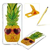 Clear TPU Case for Galaxy A9 2018,Soft Rubber Shock-Absorbing Case for Galaxy A9 2018,Herzzer Slim Fit Pretty Unique Pineapples Pattern Flexible Shockproof Silicone Back Cover