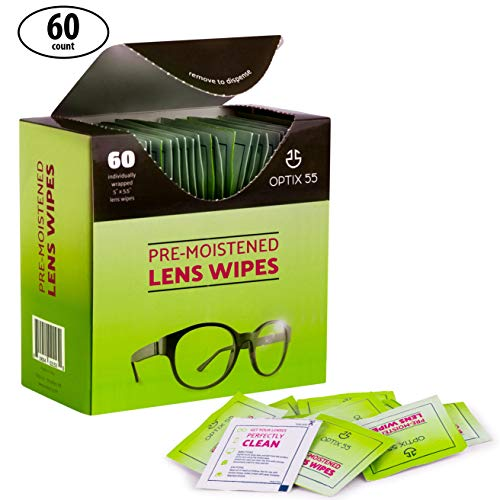 Eyeglass Cleaner Lens Wipes - 60 Pre-Moistened Cleaning Cloths - Glasses Cleaner Wipe Safely Cleans Eye Glasses, Sunglasses, Screens, Electronics, Computer Monitor and Camera Lense   ()