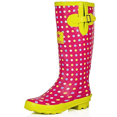 SPYLOVEBUY IGLOO Womens Adjustable Buckle Flat Welly Rain Boots Pink / Green Spot