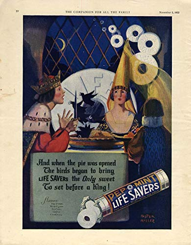 And when the pie was opened the birds began to bring Life Savers ad 1922 - Ad Lifesavers