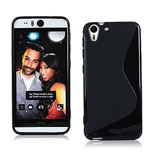 Kit Me Out ES ® Funda de Gel TPU + Cargador para el coche + Protector de pantalla con gamuza de microfibra para HTC Desire Eye - Negro Onda línea S