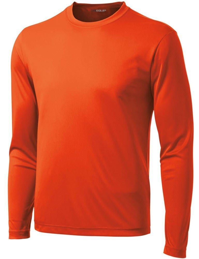 DRI-Equip Long Sleeve Moisture Wicking Athletic Shirt-Large-Deep Orange by Joe's USA
