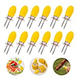 12 PCS Interlocking Corn Holders Stainless Steel Corn Forks BBQ Skewers Sticks Twin Prongs Kitchen Tool by Rely2016